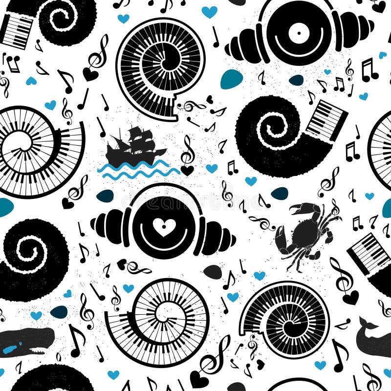 Deseniowi denni elementy i muzyka royalty ilustracja