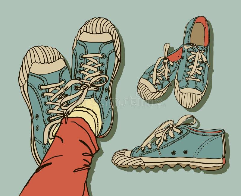 Deseniowi gym buty ilustracja wektor