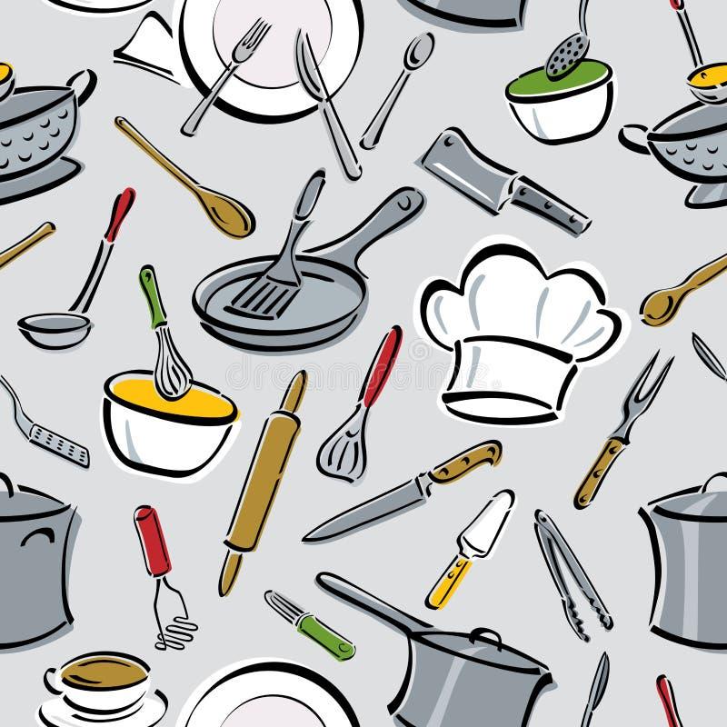 deseniowi kuchni narzędzia royalty ilustracja