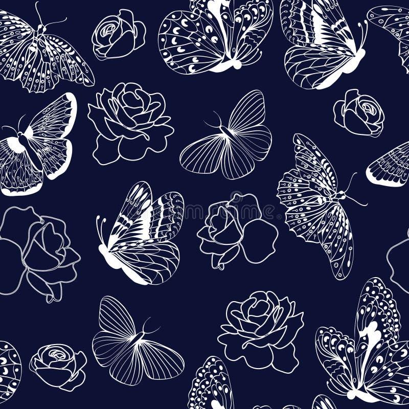 Deseniowi motyle i róże na zmroku - błękitny tło ilustracja wektor