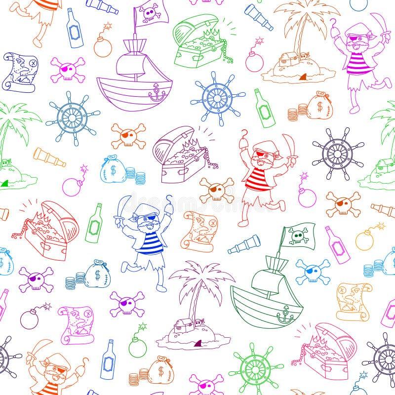 deseniowi piraci ilustracja wektor