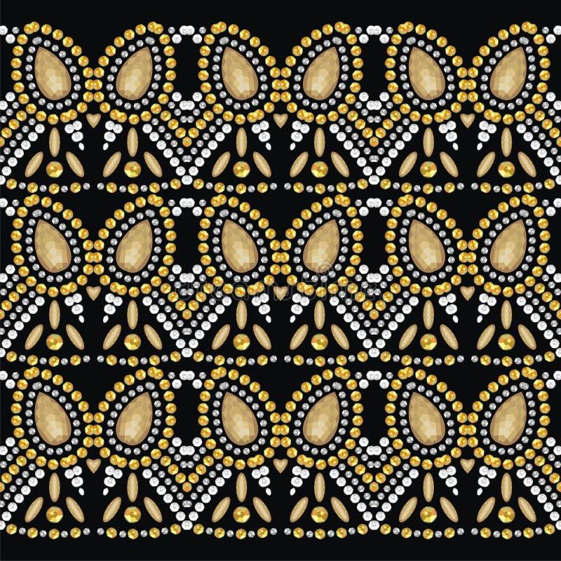 Deseniowi rhinestones dla walentynka dnia Wzór od genialnych złota i srebra kamieni ilustracji