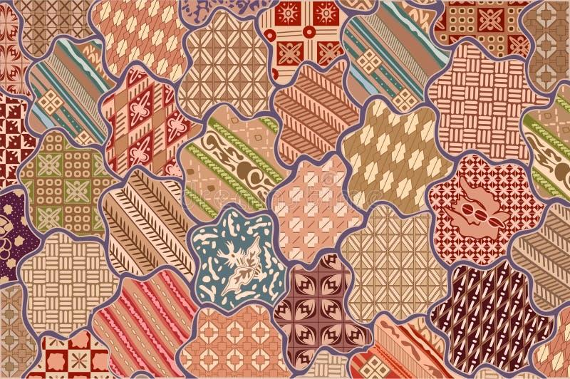 Deseniowy batikowy sekar jagad tło ilustracja wektor