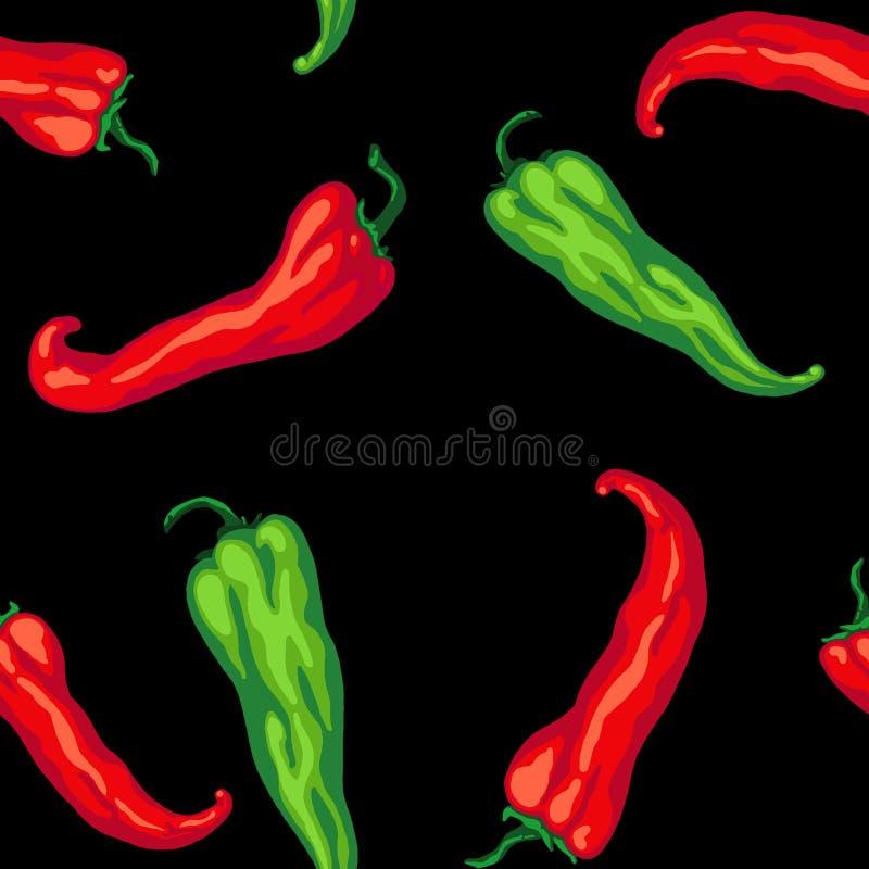 Deseniowy bezszwowy czerwieni zieleni gorącego chili pieprz odizolowywający na czarnym tle Chili pieprz, pikantność, tradycyjny s royalty ilustracja