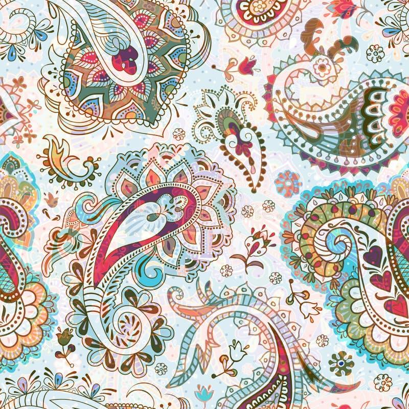 deseniowy bezszwowy Kwitnie t?o, etniczny styl Stylizowani pi?cie kwiaty Dekoracyjny ornamentu t?o dla ilustracja wektor