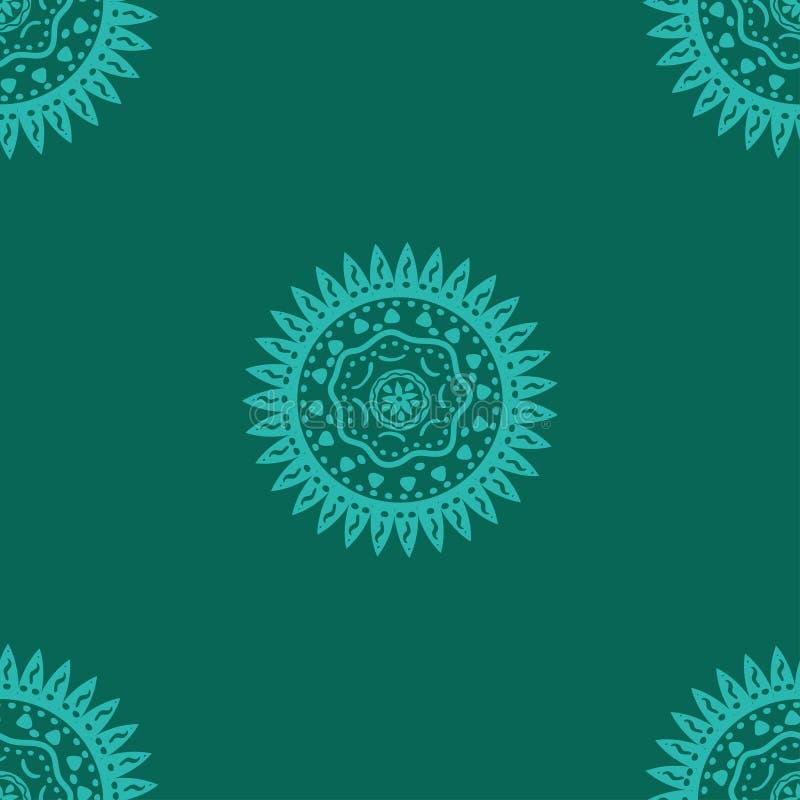 deseniowy bezszwowy s?o?ce etniczny symbol Wektoru wzór na turkusowym tle ilustracji