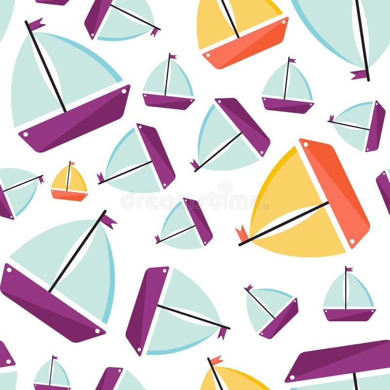 deseniowy bezszwowy statek Kresk?wka styl royalty ilustracja