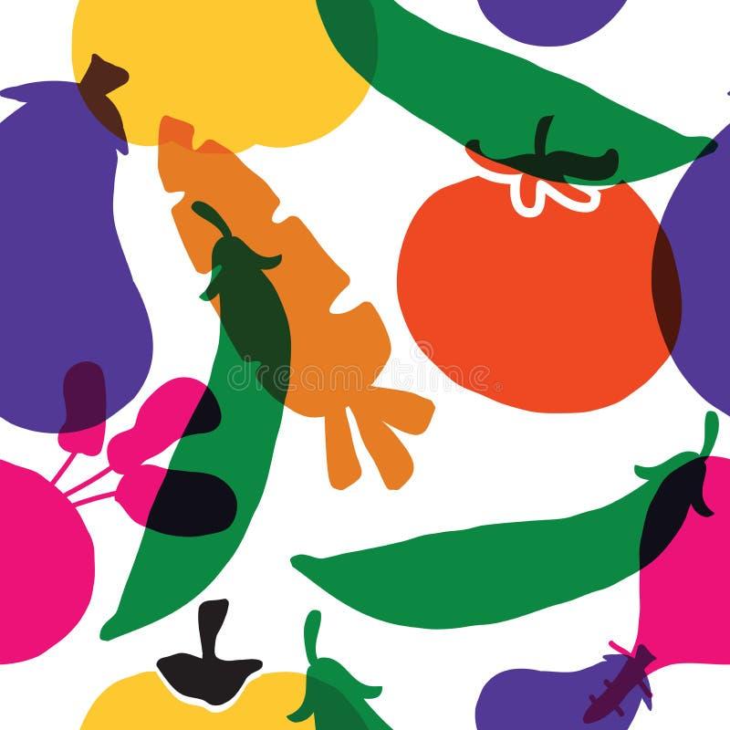 deseniowy bezszwowy warzywo Ilustracja oberżyna, marchewka, bania, burak, pomidor i grochy, wektor royalty ilustracja