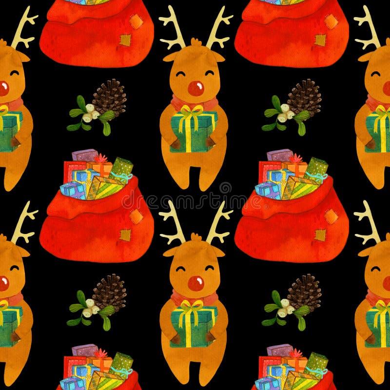 Deseniowy jeleni Rudolf z nowy rok prezentami ilustracji