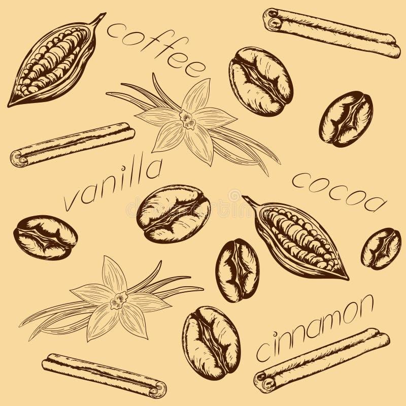 Deseniowy kawowy kakaowy waniliowy cynamon royalty ilustracja