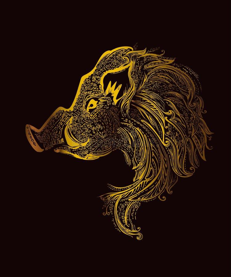Deseniowy knur Chiński nowy rok 2019 Zodiaka symbol obraz stock