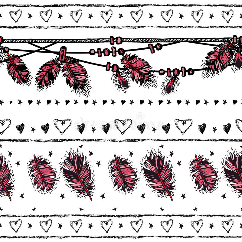 deseniowy romantyczny bezszwowy pary dzień ilustracyjny kochający valentine wektor do granicy ilustracja wektor