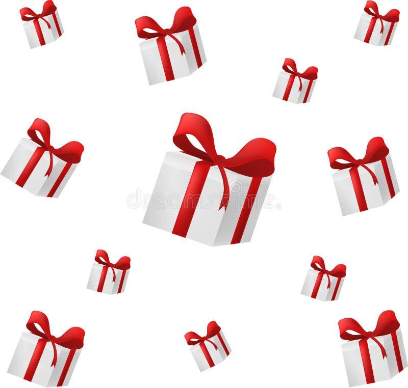 Deseniowy spada prezenta pudełko z czerwonym łękiem, wektorową sztuką i ilustracją, ilustracji