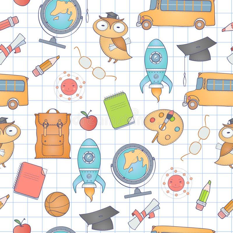 deseniowy szkolny bezszwowy ilustracji