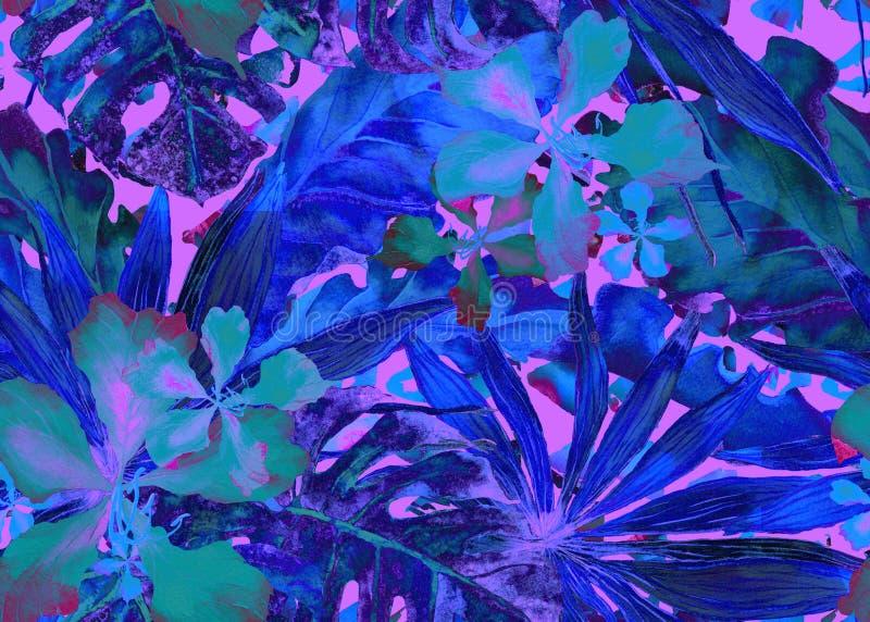 deseniowy tropikalny Akwareli Thailand palma, monstera, poślubnik, bananowy drzewo ilustracji
