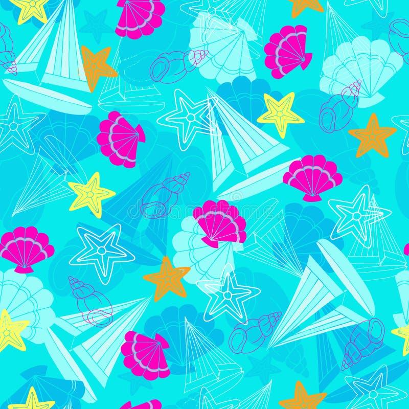 deseniowych powtórzeń żaglówek rozgwiazda bezszwowa ilustracji