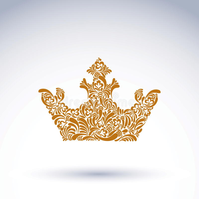 Deseniująca dekoracyjna korona, sztuka królewski symbol Królewiątka corone royalty ilustracja