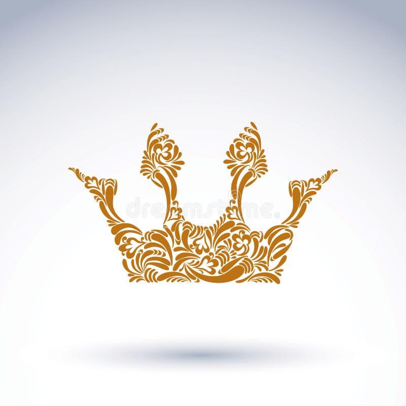 Deseniująca wektorowa korona, sztuka królewski symbol Królewiątka coronet fi ilustracja wektor