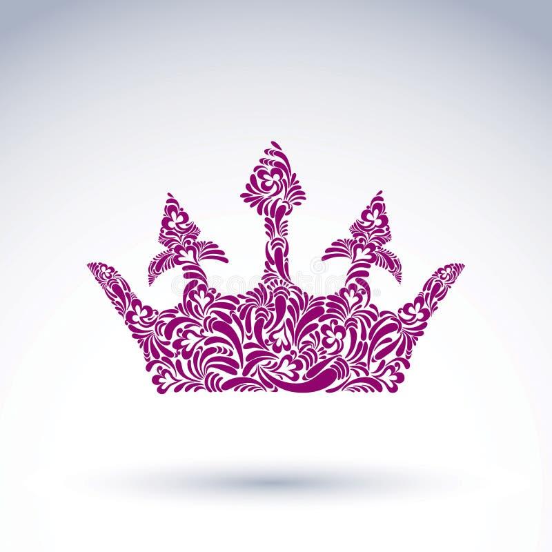 Deseniująca wektorowa korona, sztuka królewski symbol Królewiątka coronet fi royalty ilustracja
