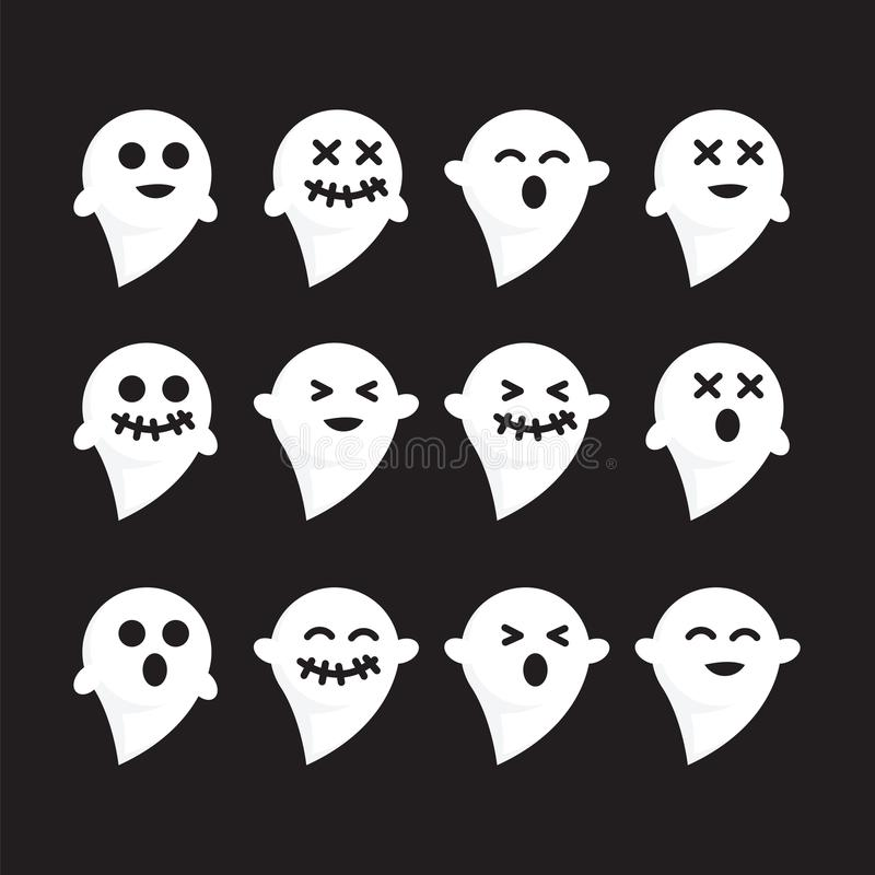 Deseniuje ustalonych emocj n czerni bacground ducha wektoru białego wizerunek ilustracja wektor