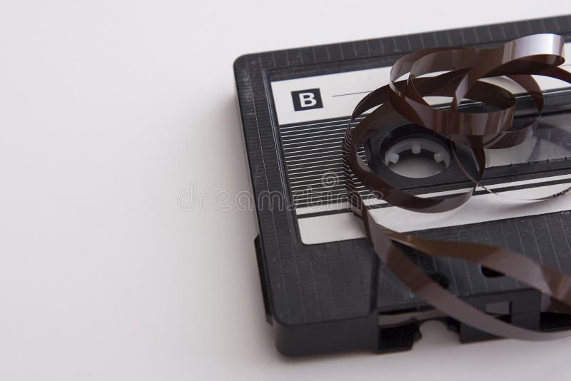 Desenrolle el cassette de cinta foto de archivo