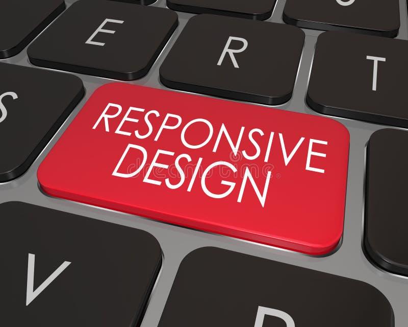 Desenvolvimento chave vermelho responsivo do Web site do teclado de computador do projeto ilustração stock