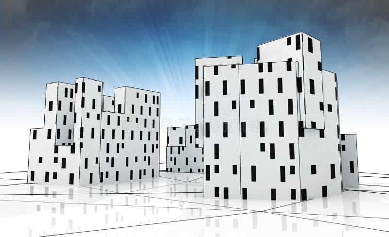 Desenvolvimento da cidade como o estudo conceptual cúbico com céu azul ilustração do vetor
