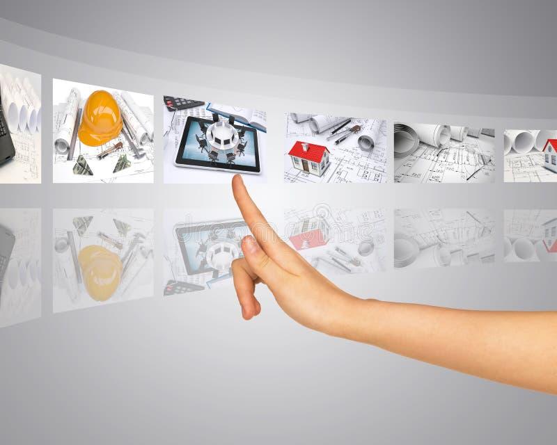 Desenvolvimento da construção e do projeto sobre imagens de stock royalty free