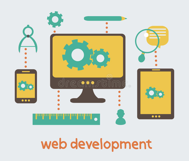 Desenvolvimento da Web ilustração do vetor