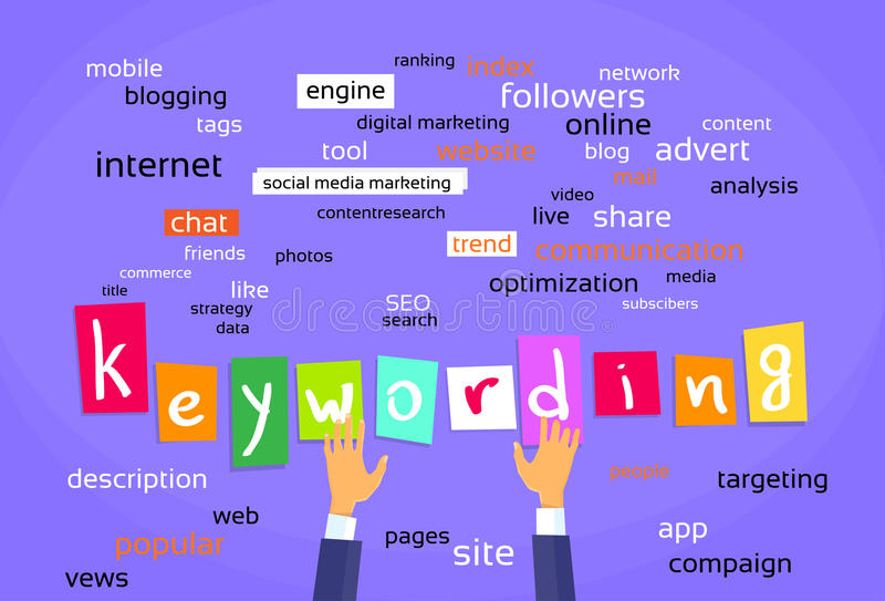 Desenvolvimento da Web do conceito da otimização de Keywording ilustração stock