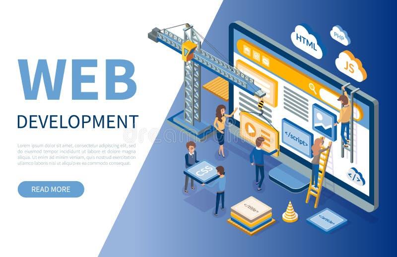 Desenvolvimento da Web, otimizações dos colaboradores dos locais ilustração do vetor