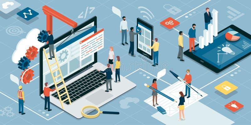 Desenvolvimento da Web, projeto gráfico e mercado ilustração stock
