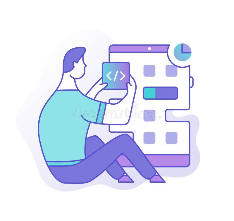 Desenvolvimento de aplicações móvel ilustração stock