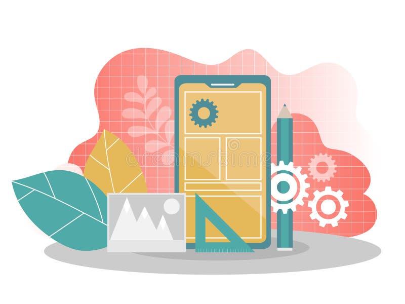 Desenvolvimento de aplicações móvel - ilustração lisa do vetor Construção móvel do app ilustração royalty free