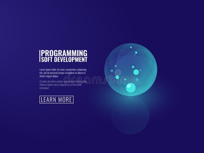 Desenvolvimento de conceito do vetor isométrico da bola luminosa transparente do ícone das novas tecnologias ilustração stock