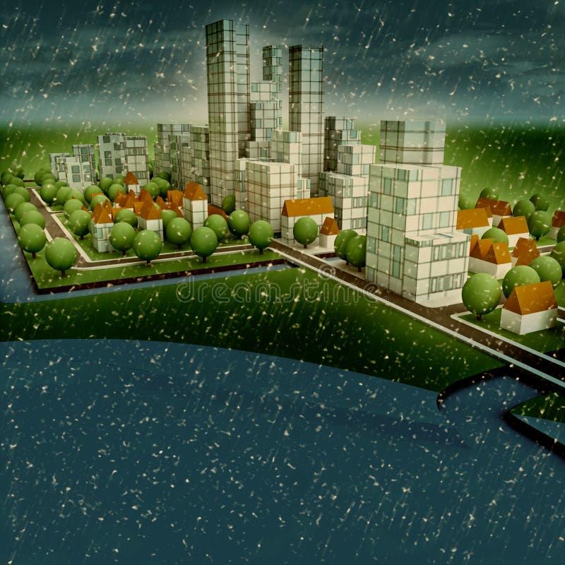 Desenvolvimento de conceito sustentável novo do inverno da cidade ilustração stock
