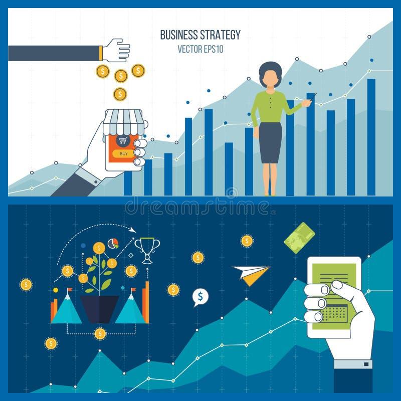 Desenvolvimento de negócios Relatório e estratégia financeiros Crescimento do investimento ilustração stock