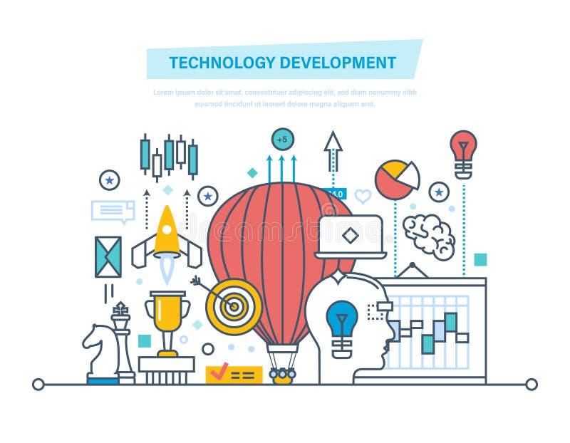 Desenvolvimento de tecnologia Partida, criativa, tecnologia, processos de negócios, aplicação das ideias ilustração royalty free