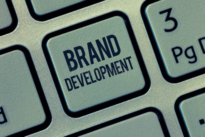 Desenvolvimento de tipo do texto da escrita da palavra Conceito do negócio para definir o produto para primar no mercado que prom imagem de stock