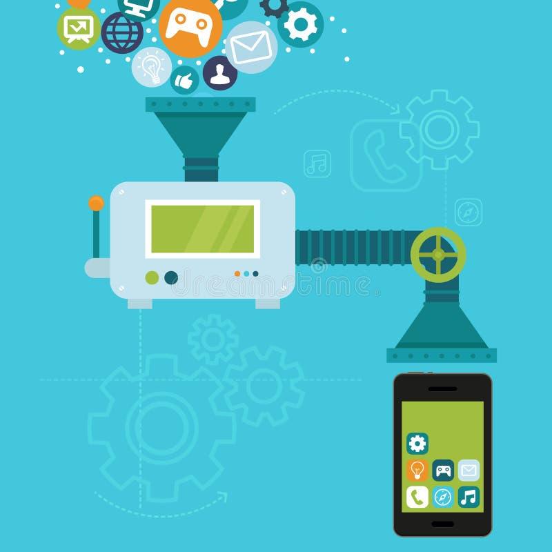 Desenvolvimento do app do vetor para o telefone celular ilustração royalty free