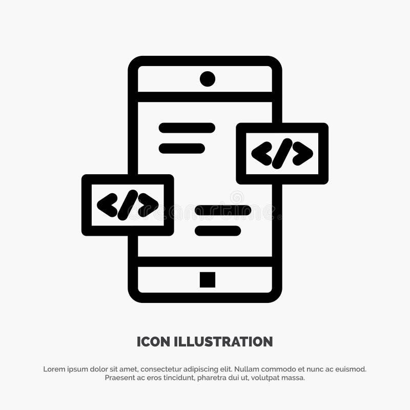 Desenvolvimento do App, setas, Div, linha móvel vetor do ícone ilustração royalty free
