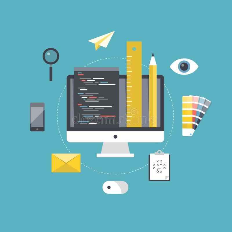 Desenvolvimento do design web e de programação ilustração do vetor