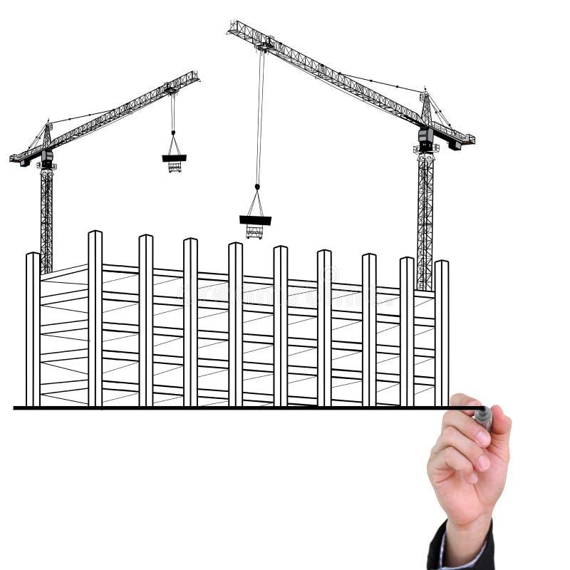 Desenvolvimento do edifício do desenho da mão do homem de negócios. ilustração do vetor