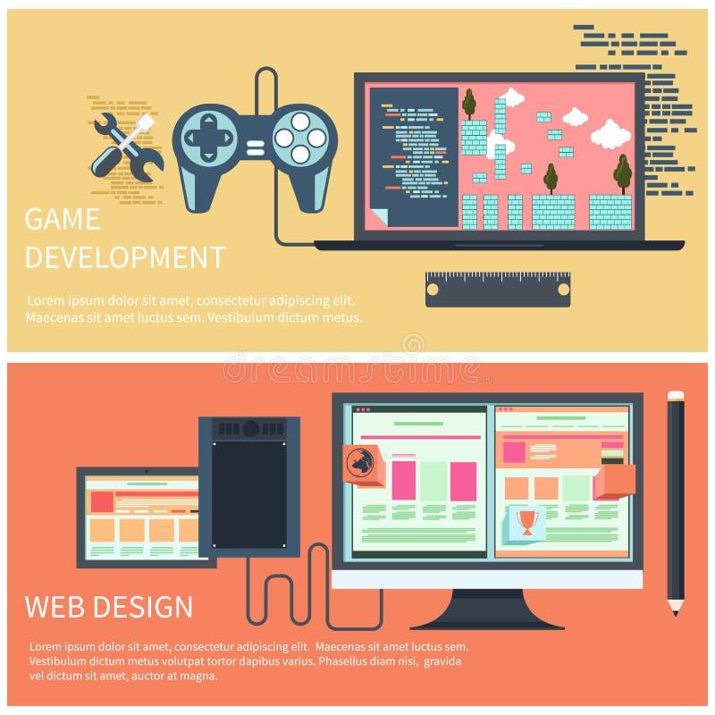 Desenvolvimento do jogo e conceito de design web ilustração royalty free