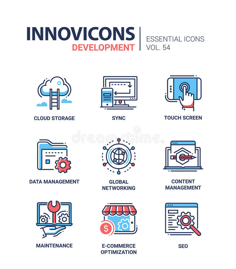Desenvolvimento do página da web - linha moderna ícones do vetor ajustados ilustração stock