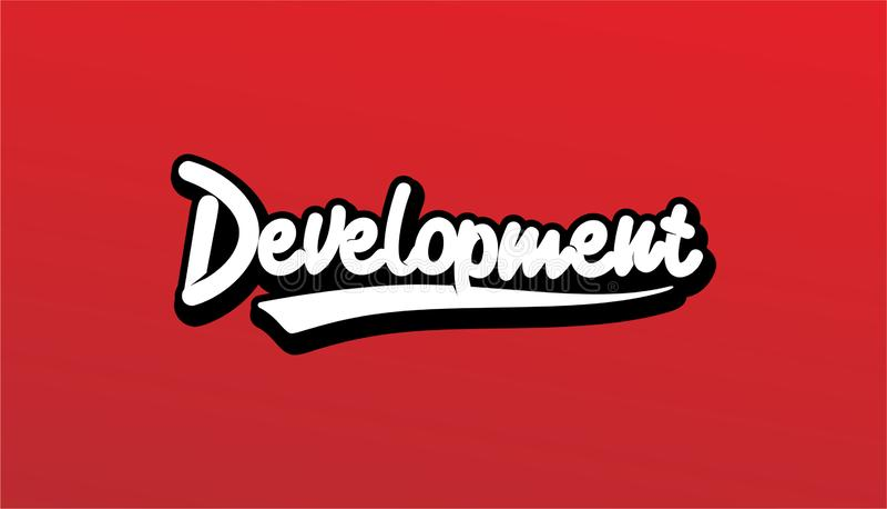 Desenvolvimento do projeto de rotulação, vetor de Handwritte e caligráfico no fato foto de stock royalty free