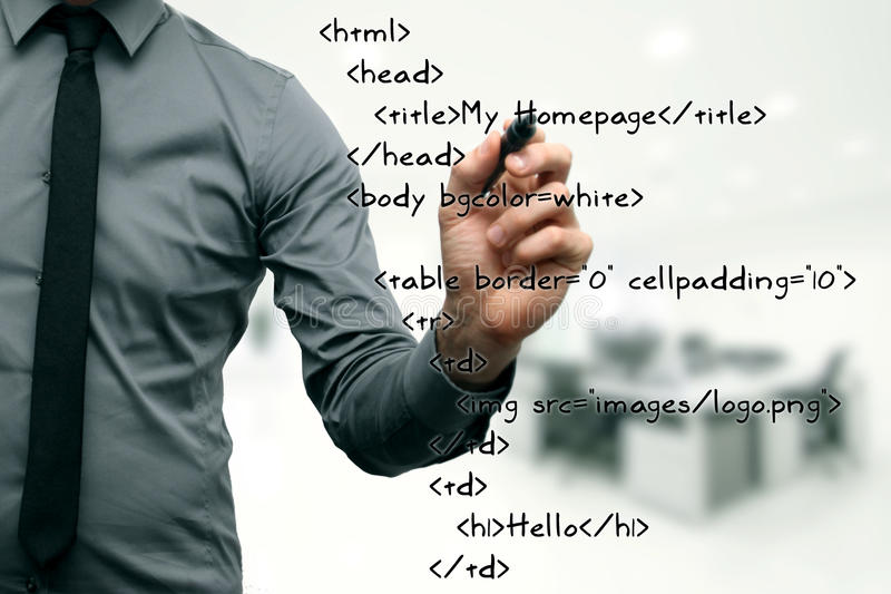 Desenvolvimento do Web site - código da escrita do programador imagem de stock