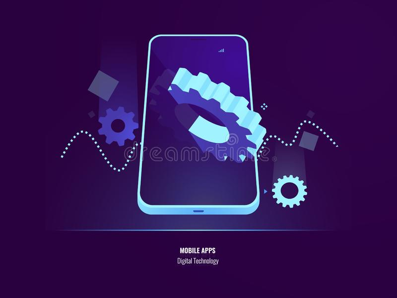 Desenvolvimento dos apps, instalação da aplicação e conceito móveis da atualização, ajuste do smartphone, engrenagem grande na te ilustração do vetor