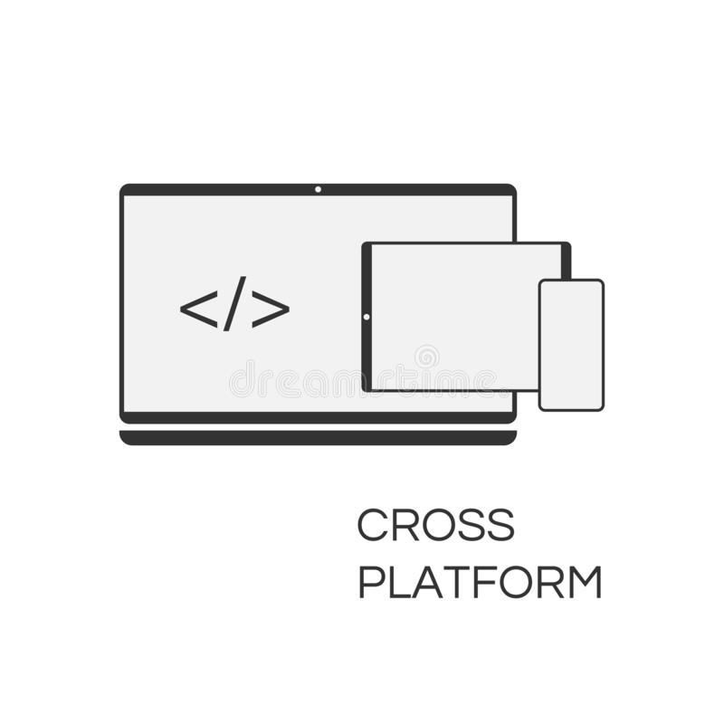 Desenvolvimento e codificação transversais da Web do ícone da plataforma do vetor O sinal simples da cruz-plataforma do conceito  ilustração royalty free