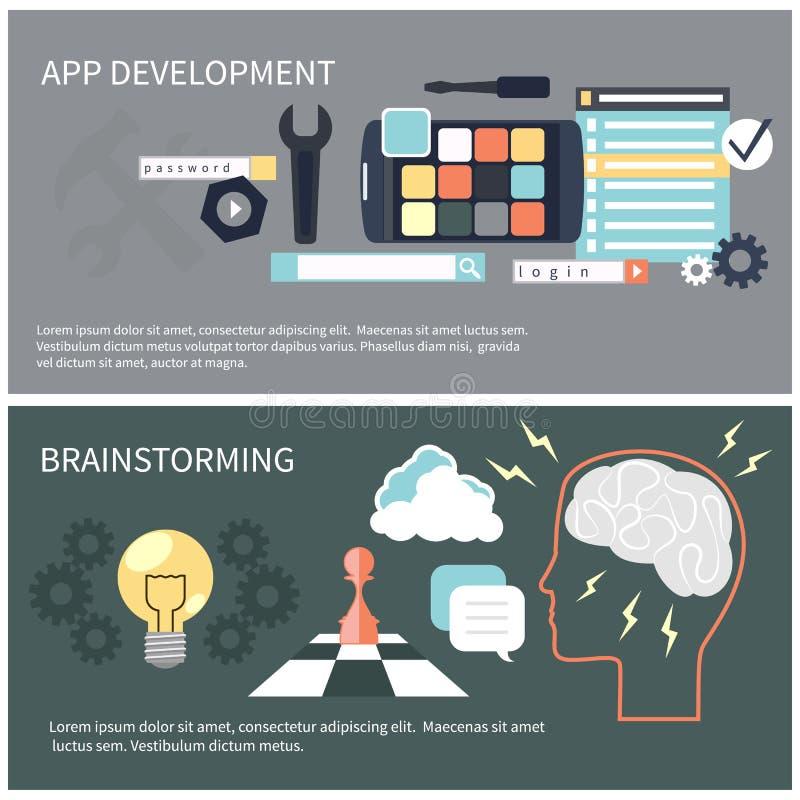Desenvolvimento e sessão de reflexão do App ilustração royalty free